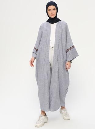 Navy Blue - Stripe - Unlined - Shawl Collar -  - Abaya