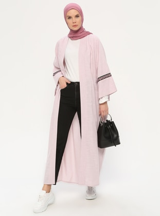 Pink - Stripe - Unlined -  - Abaya