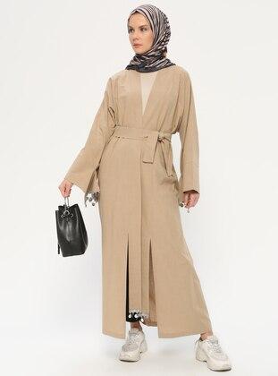 Mink - Unlined - Shawl Collar -  - Evening Abaya