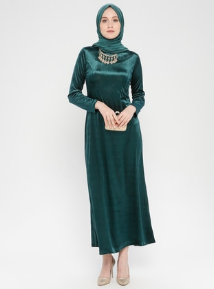 Green - Crew neck - Unlined - Dress