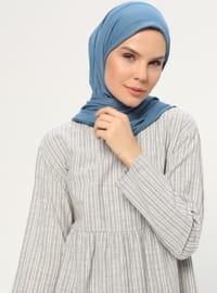 Khaki - Stripe - Crew neck -  - Tunic
