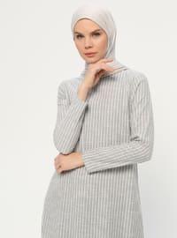 Khaki - Crew neck - Unlined -  - Dress
