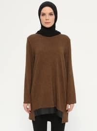 Crew neck - Geometric - Mustard - Brown - Multi - Sweat-shirt