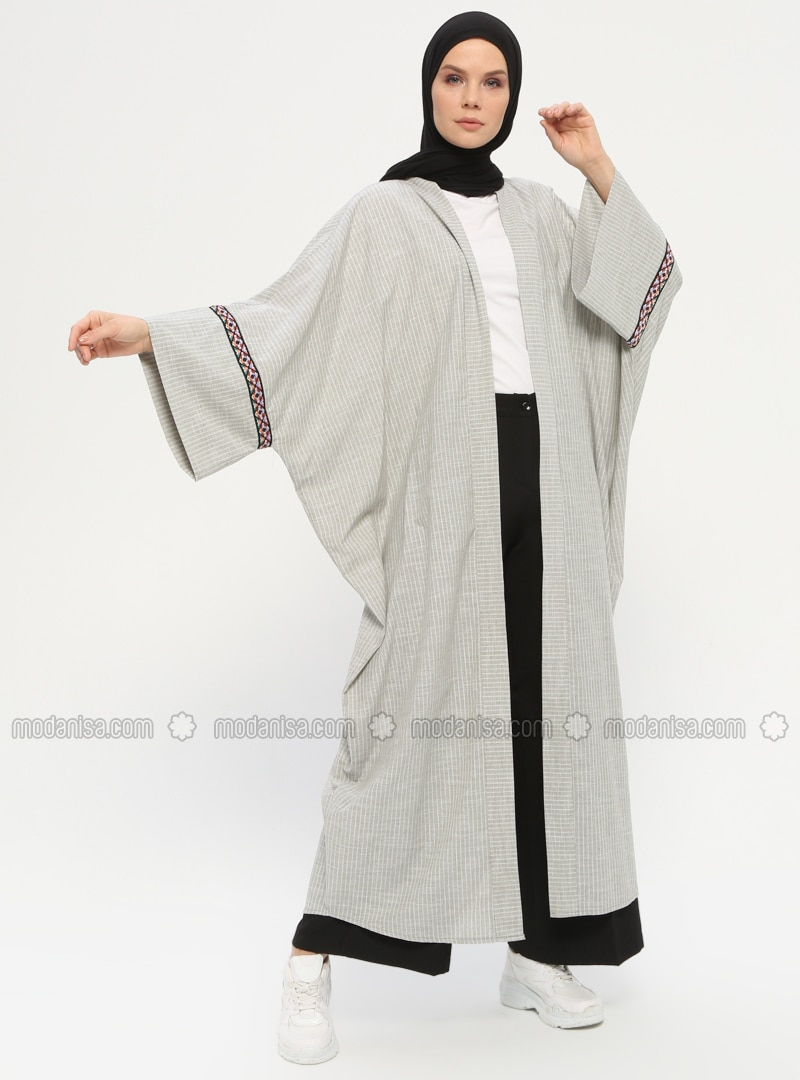 Khaki - Stripe - Unlined - Shawl Collar -  - Abaya
