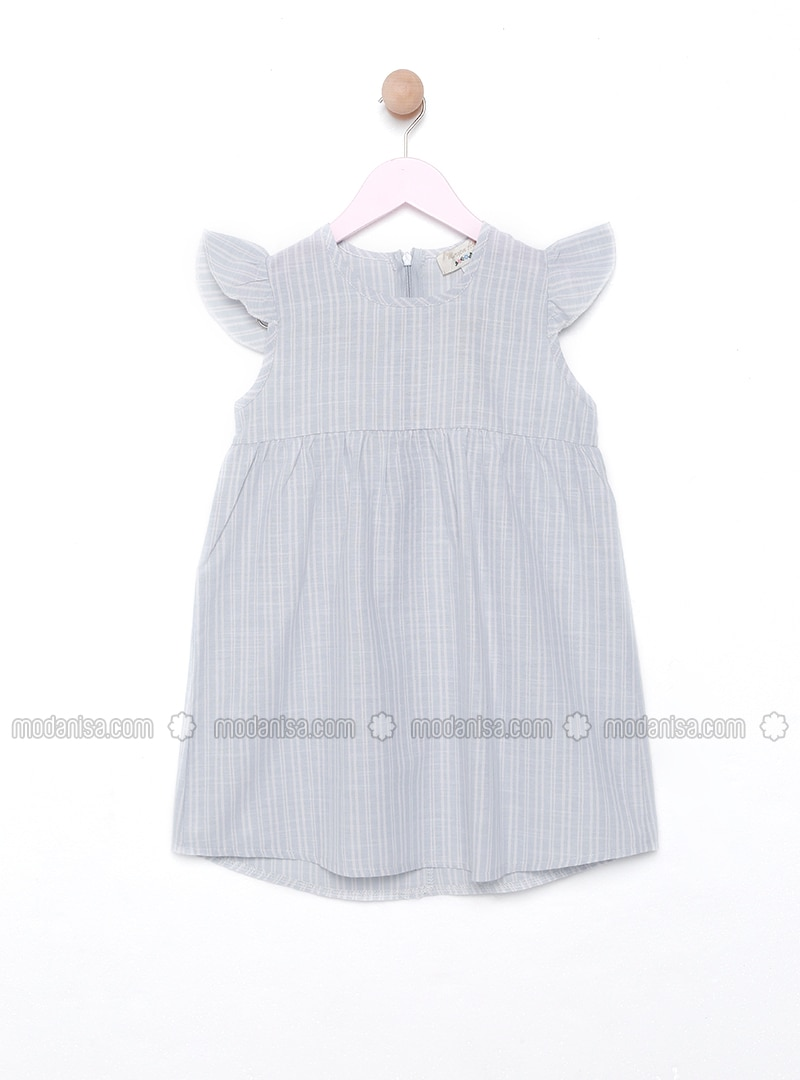 Baby Blue - Stripe - Crew neck - Unlined - Dress