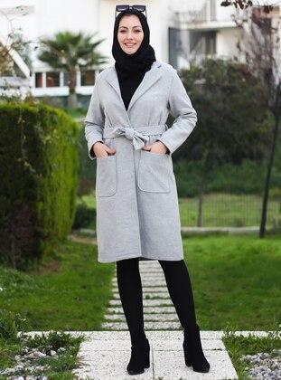 Gray - Unlined - Crew neck - Acrylic -  -  - Coat