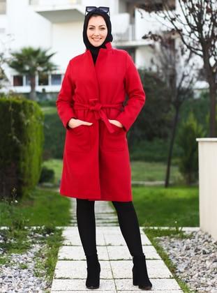 Red - Unlined - Crew neck - Acrylic -  -  - Coat