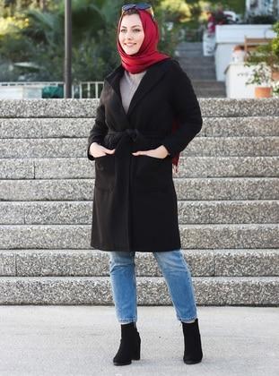 Black - Unlined - Crew neck - Acrylic -  -  - Coat