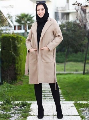 Mink - Unlined - Crew neck - Acrylic -  -  - Coat
