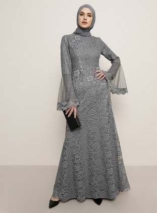Gray - Fully Lined - Crew neck - Muslim Evening Dress - Tavin