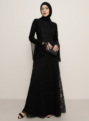 Black - Fully Lined - Crew neck - Muslim Evening Dress - Tavin