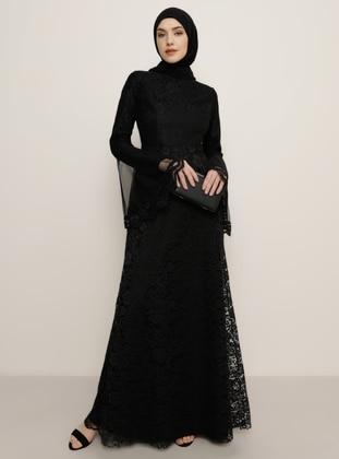 Black - Fully Lined - Crew neck - Muslim Evening Dress - Tavin
