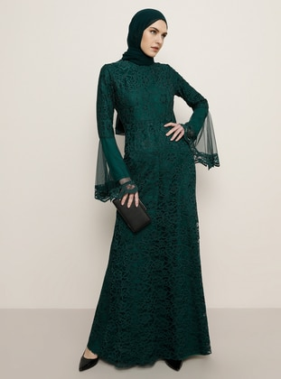 Emerald - Fully Lined - Crew neck - Muslim Evening Dress - Tavin