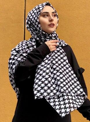 White - Black - Printed -  - Shawl