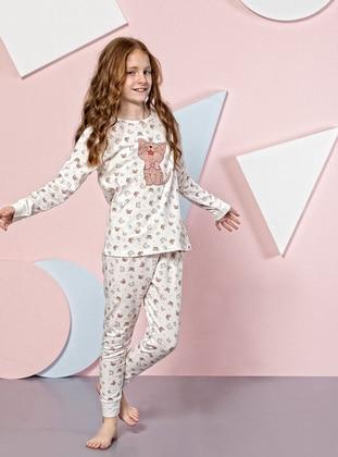 Crew neck -  - Cream - Girls` Pyjamas