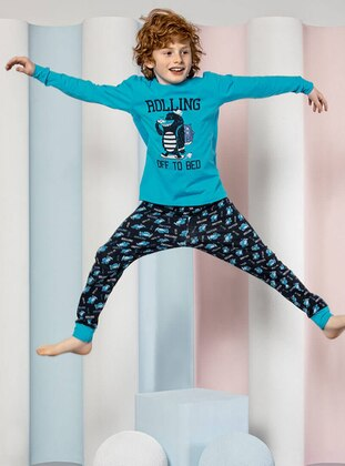 Crew neck -  - Unlined - Blue - Boys` Pyjamas