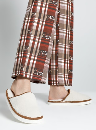 Sandal - Brown - Cream - Home Shoes