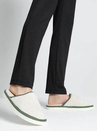 Sandal - Cream - Green - Home Shoes