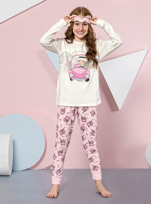 Multi - Crew neck -  - Cream - Girls` Pyjamas - Doni