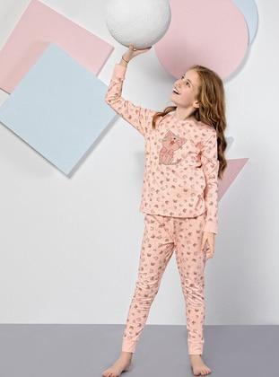 Multi - Crew neck -  - Salmon - Girls` Pyjamas