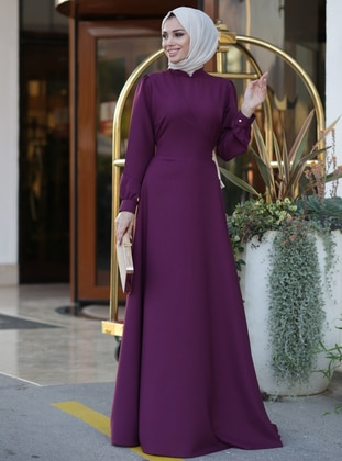 Plum - Crew neck - Unlined - Dress - Lavienza