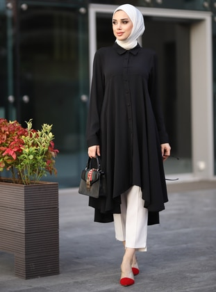 Black - Crew neck - Tunic - Lavienza