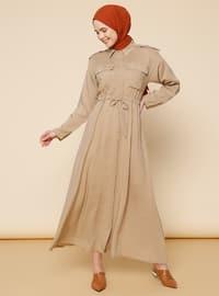 Taş rengi - Fransız yakalı - Elbise