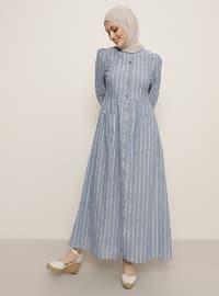 Mavi - Çizgili - Yuvarlak yakalı - Elbise
