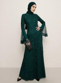 Emerald - Fully Lined - Crew neck - Muslim Evening Dress
