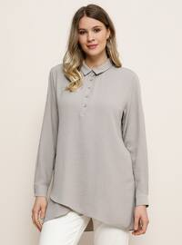 Gray - Point Collar - Plus Size Tunic