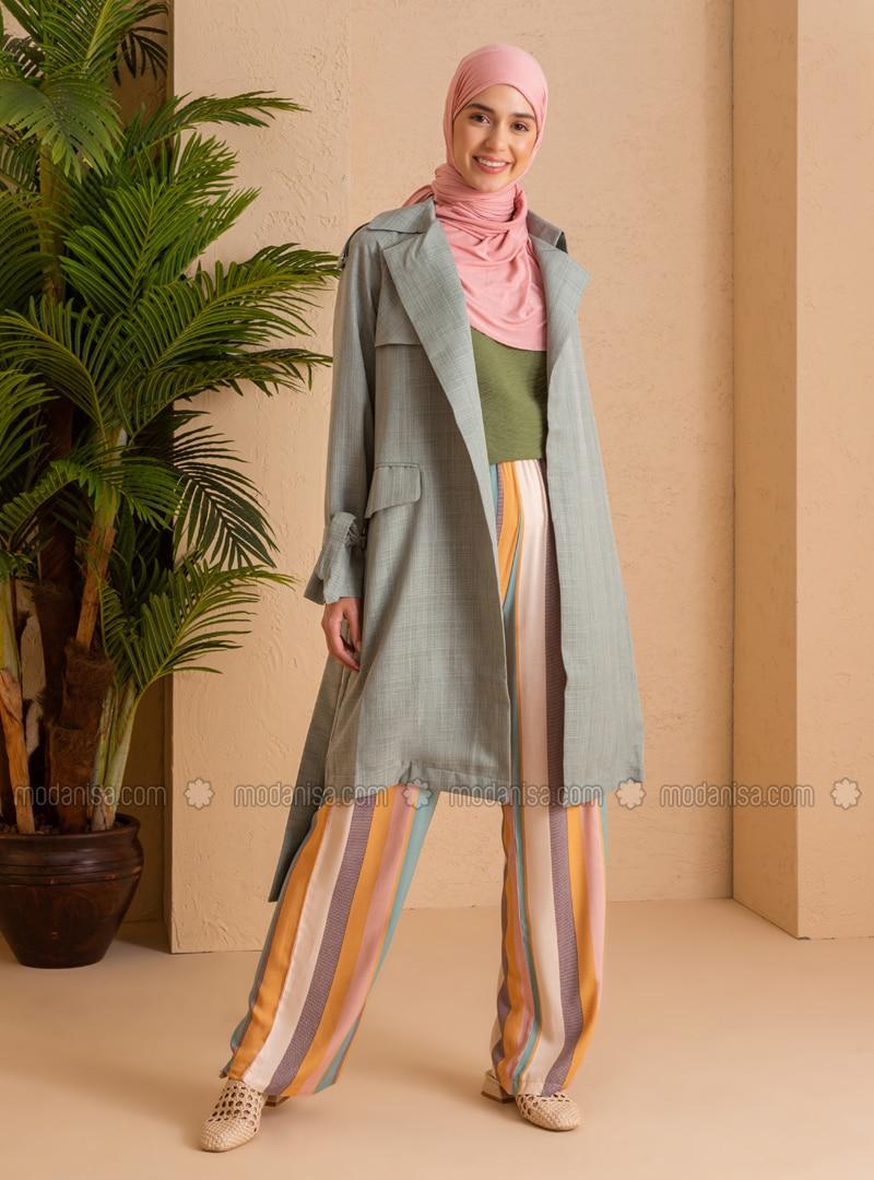 Green Almond - Multi - Stripe - Viscose - Pants