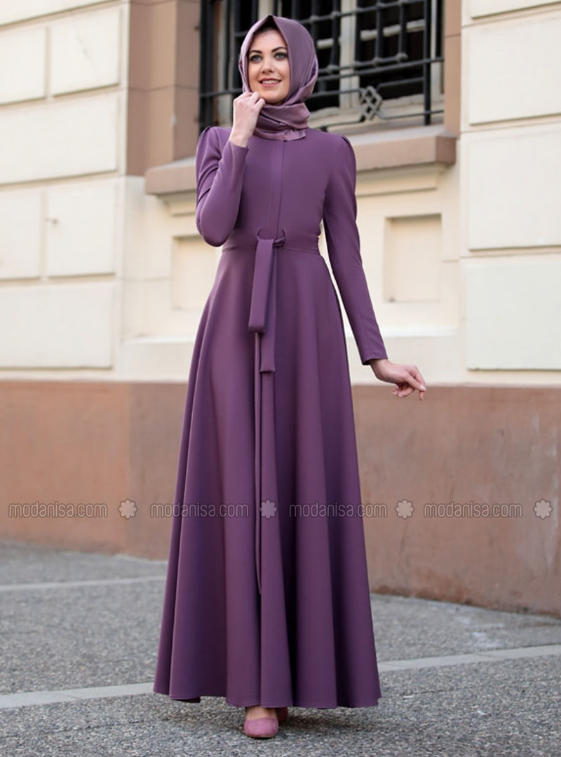 Lilac - Crew neck - Unlined - Dress