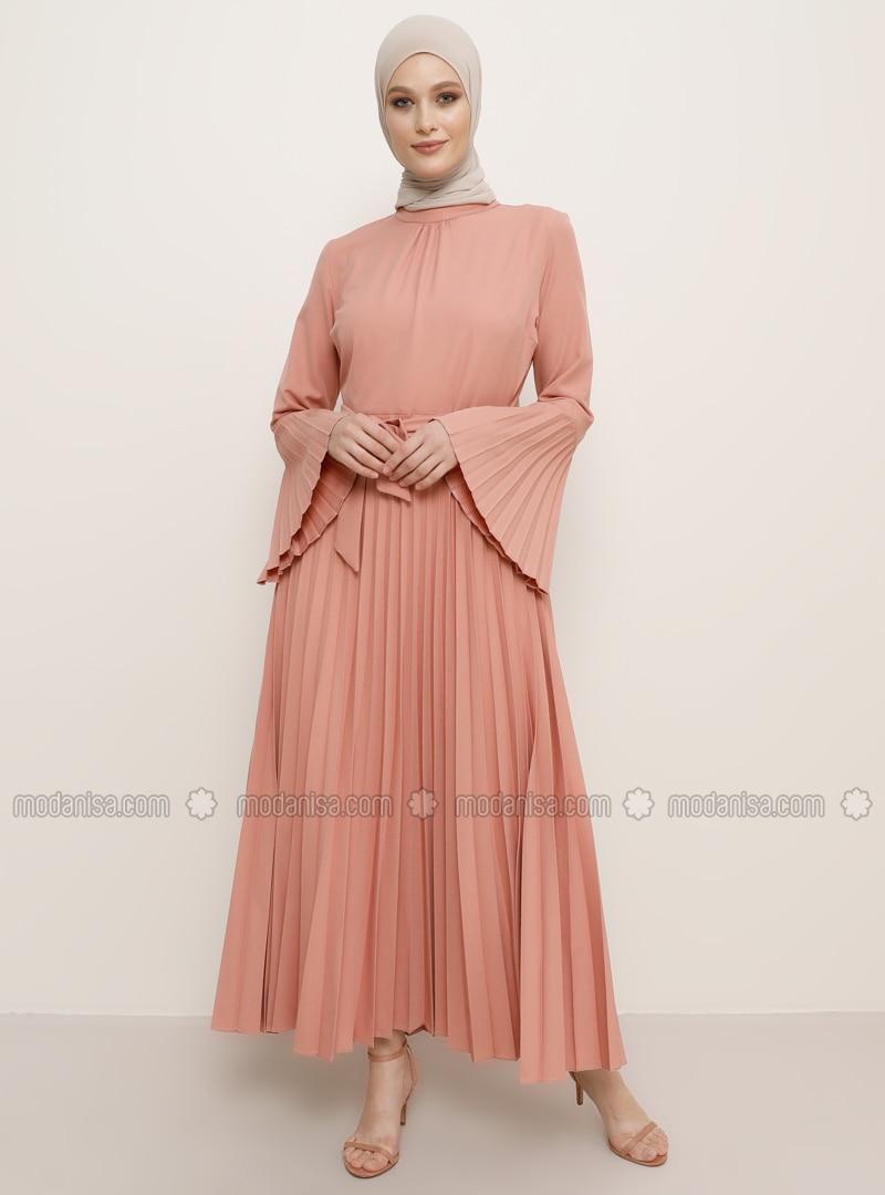 Altrosa - Rundhalsausschnitt - Hijab Kleid