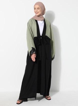 Khaki - Unlined - Shawl Collar - Acrylic -  - Abaya