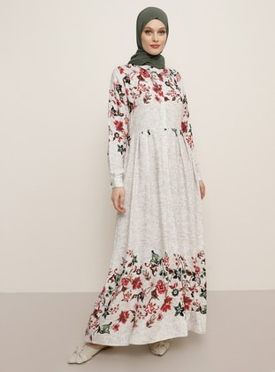 Beige - Floral - Point Collar - Unlined - Viscose - Dress