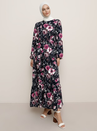 Navy Blue - Floral - Crew neck - Unlined - Viscose - Dress
