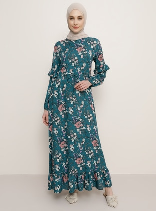 Green - Floral - Crew neck - Unlined - Viscose - Dress