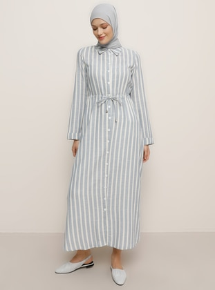Blue - Stripe - Point Collar - Unlined -  - Tunic