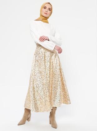 Ecru - Multi - Fully Lined - Skirt