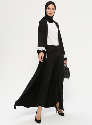 Black - Unlined - Shawl Collar -  - Abaya