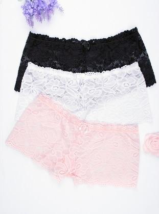 White - Powder - Black -  - Panties