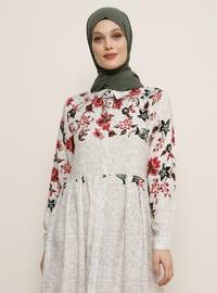 Bej - Çiçekli - Fransız yakalı - Astarsız kumaş - Viskon - Elbise