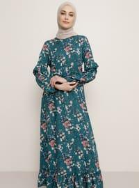 Yeşil - Çiçekli - Yuvarlak yakalı - Astarsız kumaş - Viskon - Elbise