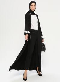 Black - Unlined - Shawl Collar -  - Abaya