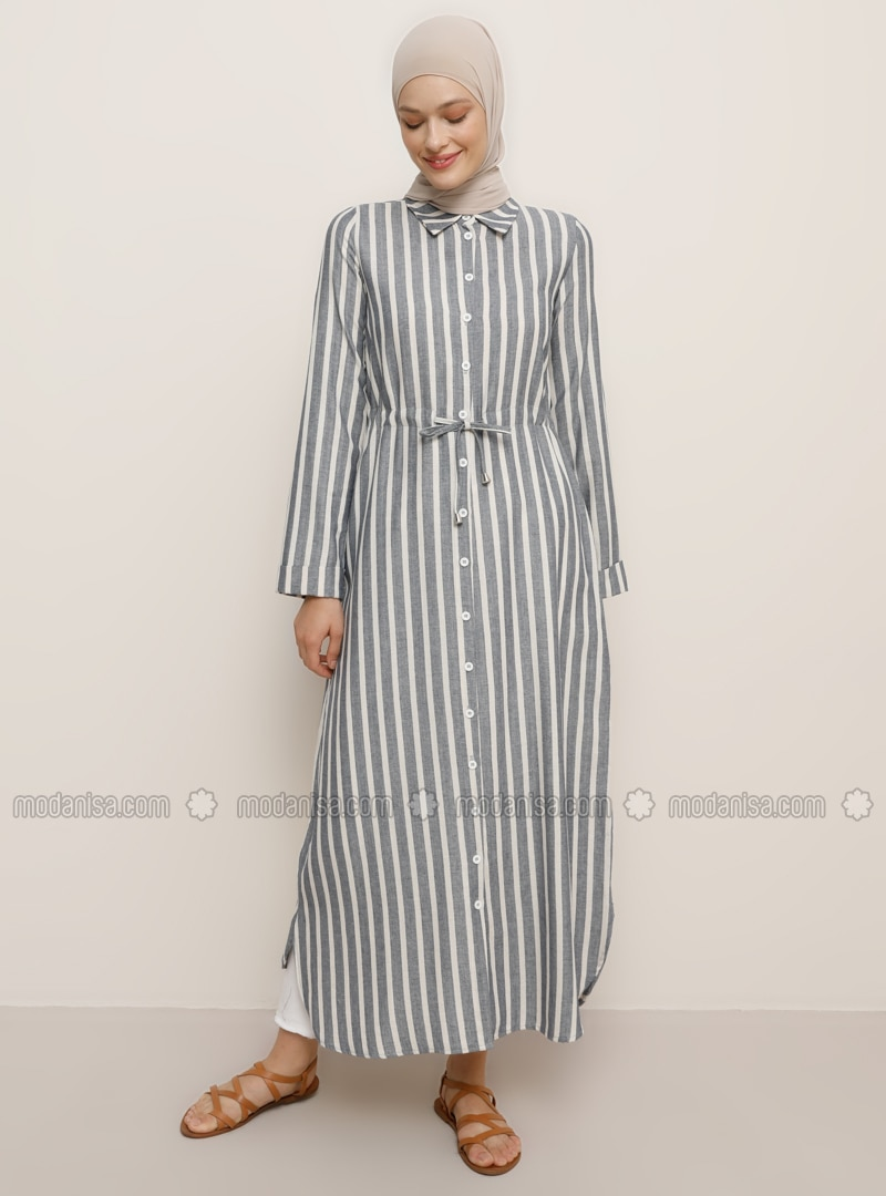 Navy Blue - Stripe - Point Collar - Unlined -  - Tunic