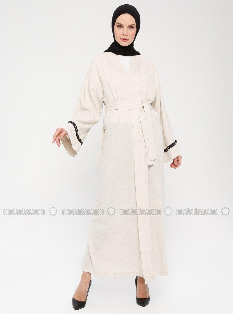 Cream - Unlined - Shawl Collar -  - Abaya