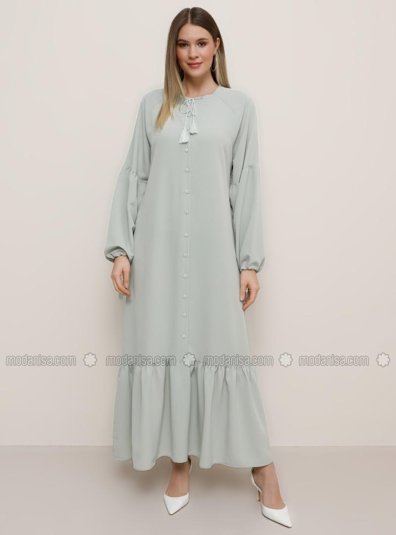 Sea-green - Green - Unlined - Crew neck - Plus Size Dress