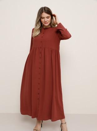 Maroon - Cherry - Unlined - Crew neck - Plus Size Dress