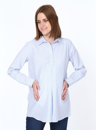 Blue -  - Point Collar - Maternity Blouses Shirts