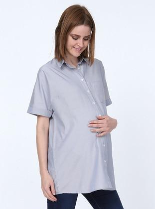 Black -  - Stripe - Point Collar - Maternity Blouses Shirts